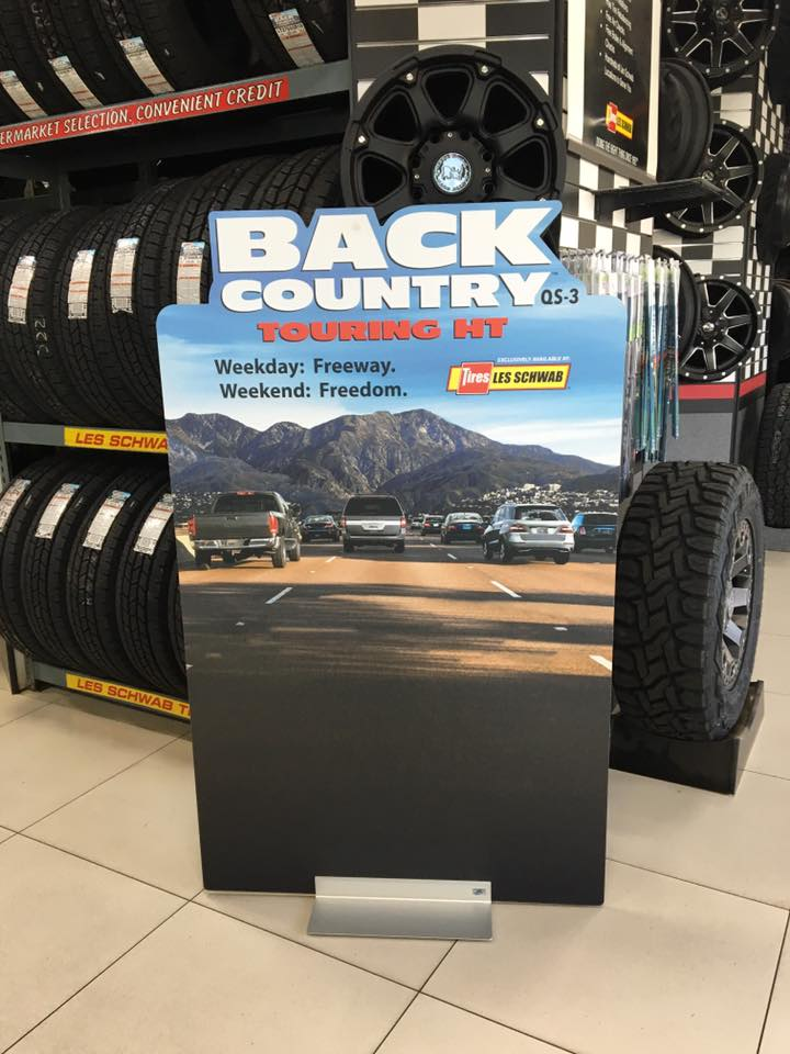 Back Country Touring HT tire POP display Les Schwab Tires