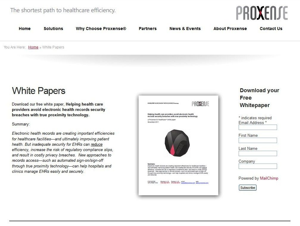 Landing page for Proxense content marketing