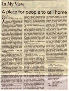 Copywriting including bylined articles including Merry Ann Moore opinion piece affordable housing