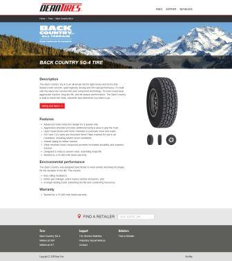 Copywriting and web content for Dean Tires website