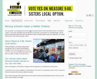 Sisters Local Option website - Why Vote Yes comp political campaign communications
