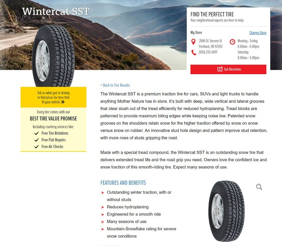 Les Schwab Tires product description - Wintercat
