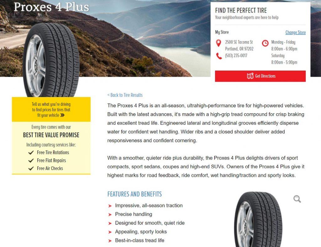 Les Schwab Tires product description - Proxes