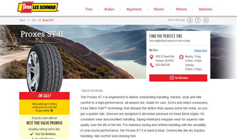 Les Schwab Tires website product description