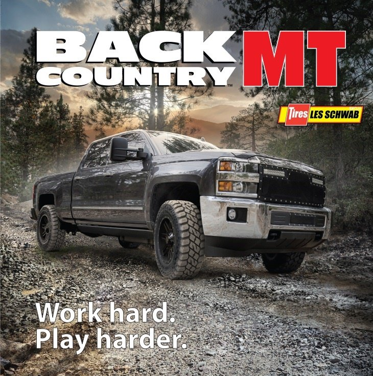 Les Schwab Tires Back Country MT tire tagline