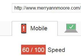 Moore Creative website mobile page speed score after update