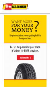 Les Schwab sidebar ad promoting tire rotations