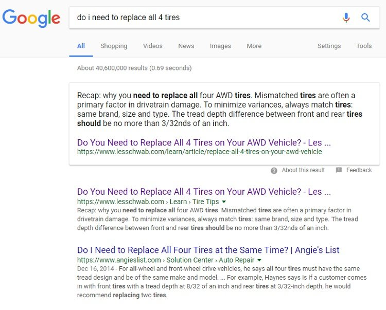Top search result including Answer Box for Les Schwab