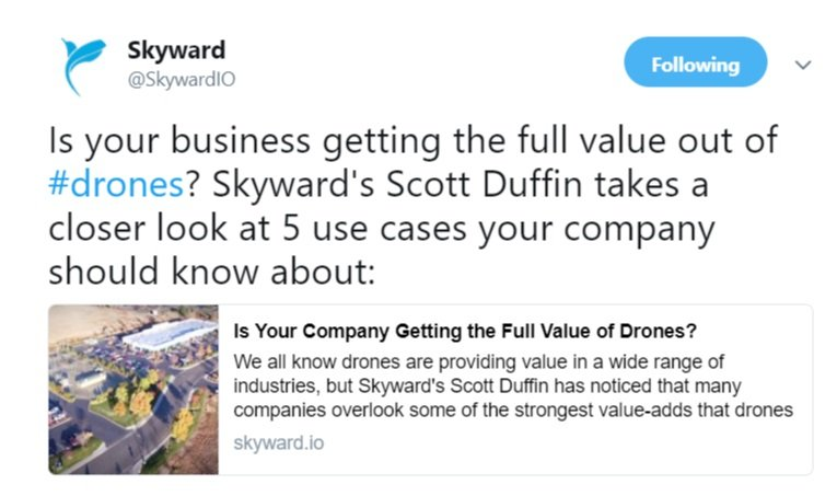 Tweet - getting full value fr drone program - Skyward