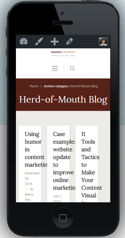 Screenshot of my pre-launch blog page on mobiletestme 2015-12-12