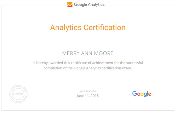 Google Analytics Certification - Merry Ann Moore